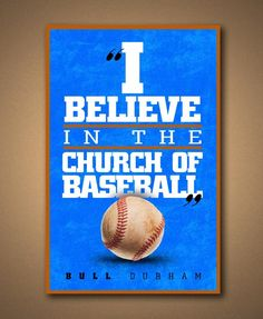 BULL DURHAM Church Of Baseball Movie Quote by ManCaveSportsSigns