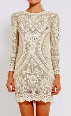 MODO EL MUNDO: Blanco completa mangas vestido de encaje por Ladyface