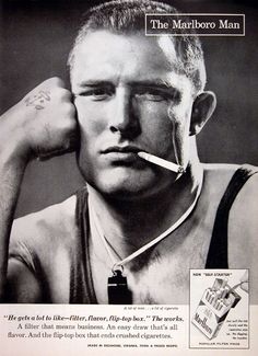 Dating back to 1955, The Marlboro Man campaign showed a range of masculine men including athletes, gunsmiths and cowboys.