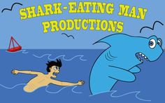 Here is a logo I designed for a production company. A comical logo, I went with a major size difference between the hungry man and the scared shark. Using mostly blue throughout the work, the man and the company title are able to stand out a bit more than anything else. I also used as many simple shapes and lines as possible, so as to keep the eye focused on the more important, more detailed areas of the logo.
