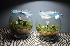 One of my friends did cute terrariums as game prizes for her bridal shower - cute twist with jungle animals // Mini Terrariums.these in particular were made as centerpieces for my safari themed baby shower by my best friend. Safari Theme Party, Safari Birthday Party, Jungle Theme, Jungle Safari, Jungle Party, Jungle Animals, Safari Centerpieces, Baby Shower Centerpieces, Baby Shower Decorations