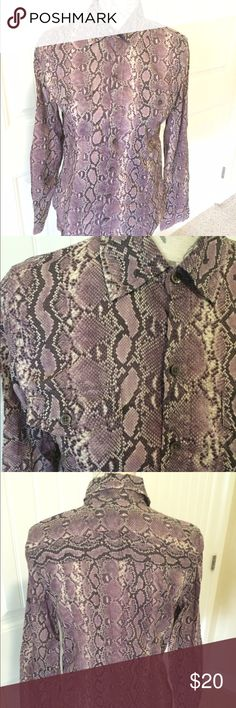 Michael Kors Snake Skin Print Top  This button down long sleeved lavender, gray, and white snake skin print top is to die for. Like new, only worn twice.  Michael Kors Tops Button Down Shirts