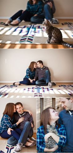 home engagement shoot with kitties