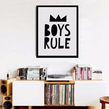 Black and White Nursery, Boys Rules Quote Modern Poster Canvas Printings Wall Canvas Art Boys Room Decor Nursery Print no frame(China (Mainland))