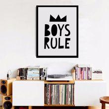 Black and White Nursery, Boys Rules Quote Modern Poster Canvas Printings Wall Canvas Art Boys Room Decor Nursery Print no frame(China (Mainland))