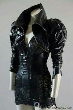 Black leather shrug and rocker ini-skirt
