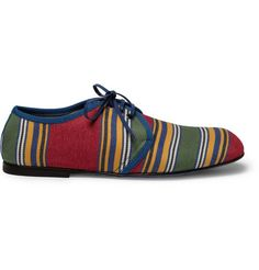 Dolce & Gabbana Striped Canvas Leather-Soled Derby Shoes | MR PORTER