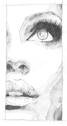 Drawing Pencil Portraits - Sketch SOLD Graphite on Paper. There's something about these cropped half face close ups that I keep coming back to.by Doc Discover The Secrets Of Drawing Realistic Pencil Portraits Portrait Sketches, Drawing Sketches, Art Drawings, Drawing Faces, Half Face Drawing, Drawing Ideas, Face Sketch, Sketch Art, Drawing Tips