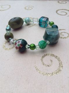 Green blue and navy glass beaded mix and match handmade