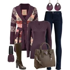 Great outfit with pop of color in sweater.