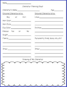 Free Character Planning sheet for realistic fiction writing