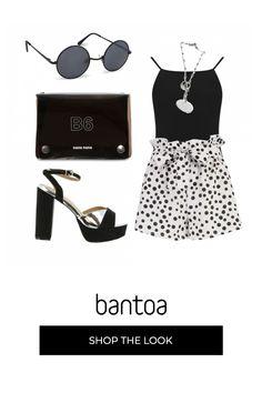 Pantaloncini corti bianchi e neri sdrammatizzano dei sandali altissimi. Borsa e occhiali minimal black completano un outfit glamur. Minimal, Kate Spade, Leggings, Skinny, Polyvore, Outfits, Shopping, Fashion, Glamour