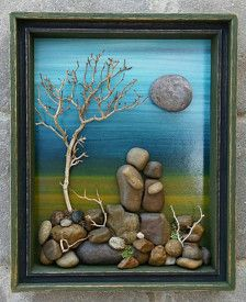 FREE SHIPPING  Very bright and colorful one of a kind Pebble Art Couple in the woods, set on a hand painted background Materials used are desert plants, twigs, dried moss, pebbles and rocks. The open wood shadow box measures 9x10.5x2, and is doubled layered. It was painted in acrylics, and lightly distressed. It will stand freely for display. I always love special requests, and this type of work is wonderful for any occassion or gift idea. If you have any questions, please contact me.