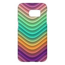 Cool Retro Modern Colorful Abstract Wave Pattern Samsung Galaxy S7 Case