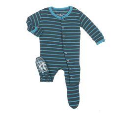 Kickee Pants Print Footie Boy Tundra Stripe  **Pre-sale**