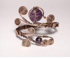 Hey, I found this really awesome Etsy listing at https://www.etsy.com/listing/193917727/wire-wrap-amethyst-braceletamethyst-cuff