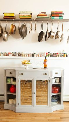 """We searched for over a year for a perfect kitchen hutch. We finally found this beautiful 1920s French piece at an antique store in New Jersey."""""""