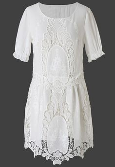 Delicacy White Lace Crochet Cut Out Dress