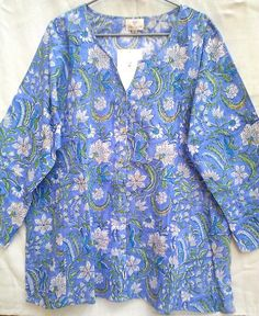 Beautiful Rich Periwinkle Blue Anokhi Floral Hand block print Cotton Tunic Top Blouse