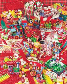 """500 pieces of Christmas treats compose this very red, very interesting puzzle! Can you spot all the different types of candies and all of the different years of ornaments? It will feel like Christmas has come early when you get your hands on this new Springbok jigsaw puzzle! 500 Pieces Size:  18"""" x 23.5""""  Maker:  Springbok"""