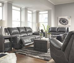 Furnituremaxx Persiphone Contemporary Charcoal Color Leather Reclining Power Sofa And Loveseat, Rocker Recliner Living Room Inspo, Power Reclining Sofa, Grey Leather Couch, Reclining Sofa, Sofa, Ashley Furniture Outlet, Power Recliners, Living Room Grey, Sofa Colors
