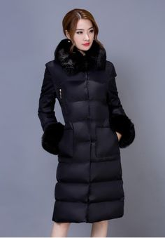 Black Thicken Warm Winter Long Duck Jacket Hooded Coat Outerwear WJ340-2