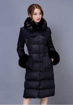 Black Thicken Warm Winter Long Duck Jacket Hooded Coat Outerwear WJ340-2