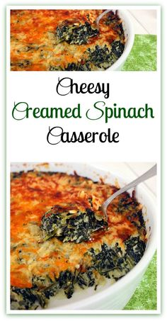 A spinach and cream cheese filling topped with two kinds of cheese. A spinach and cream cheese filling topped with two kinds of cheese. Creamed Spinach Casserole, Vegetable Casserole, Spinach Bake, Vegetable Side Dishes, Vegetable Recipes, Casserole Dishes, Casserole Recipes, Quiche Recipes, Cheese Recipes