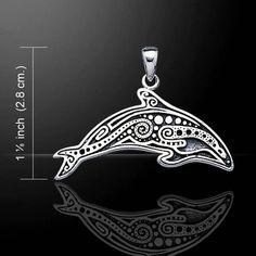 Aboriginal Dolphin .925 Sterling Silver Pendant Dive Silver Maori inspired Dolphin jewelry