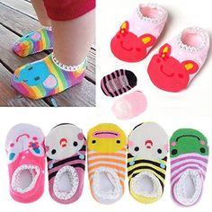 #manythings.online #FlyingP #5Pairs Cotton Animal Stripes Baby Girl's Socks Toddler Anti Slip Skid Socks For 6-18 months No-Show Crew Boat Socks Product Function:...