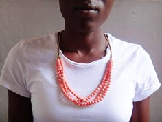 Dreamy light pink fair trade necklace by BeautifulUganda on Etsy so beautiful