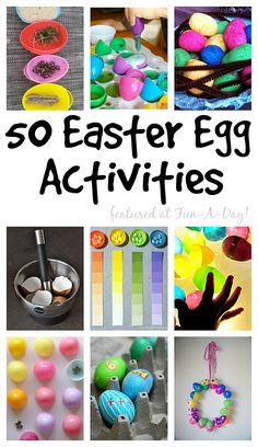 A huge collection of over 50 Easter egg activities for kids. The activities include playful learning, art, crafts, and even Easter egg decorating ideas! Easter Arts And Crafts, Spring Crafts, Holiday Crafts, Holiday Fun, Egg Crafts, Holiday Recipes, Holiday Ideas, Easter Games, Easter Activities