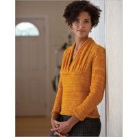 Interweave: Ginevra's Pullover, medium weight yarn with an inset of lace weight