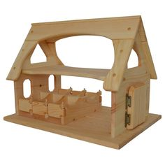 c486720f5 Natural Wooden Toy Stable-Waldorf Wooden Stable Toy Wooden Animals, Farm  Animals, Stalls
