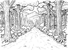 Forest Background Coloring Page