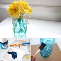 Turquoise mason jar center pieces