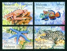 UNDERWATER LIFE OF MALAYSIA Starfish Crab Eel Fish Coral Marine stamps