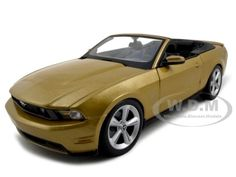 2010 Ford Mustang Diecast Car Model 1/18 Convertible Gold Die Cast Car By Maisto