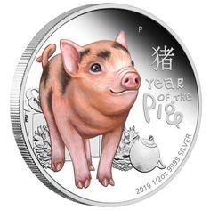 1//2 oz Ag colored 9999 SILVER Coin 2019 Australia 50 Cents Lunar Pig UNC