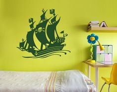 Black Bart Pirate Ship Wall Decal by Style  Apply  Wall Sticker Vinyl Wall Art Home Decor Wall Mural  3729  Black 20in x 18in ** For more information, visit image link. (This is an affiliate link) #WallStickersMurals