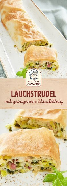 Strudel is not only sweet, but also savory and savory. Our leek strudel recipe with bacon is easy to do with our drawn strudel dough. Leek strudel with drawn strudel dough Jana Müller Einhornpups Food Strudel is not only sweet, but also savory and Panchetta Recipes, Bacon Recipes, Mexican Dinner Recipes, Healthy Dinner Recipes, Healthy Appetizers, Appetizer Recipes, Empanadas, Strudel Recipes, Peanut Butter Snacks