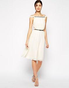 Elise Ryan Embellished Bardot Neck Midi Prom Dress