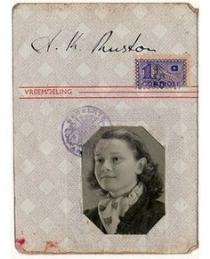 Audrey Hepburn's National ID card issued during the German occupation of Holland and required by German law for everyone 14 years and older
