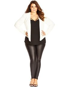 City Chic Plus Size Open-Front Long-Sleeve Blazer
