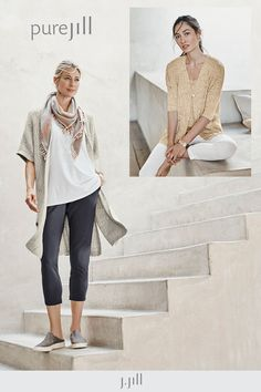 Rich textures, relaxed shapes and down-to-earth tones—that's the art of ease. Everyday Casual Outfits, Ankle Length Leggings, Long Kimono, Striped Jacket, Current Mood, Square Scarf, Earth Tones, Traveling, Outfit Ideas