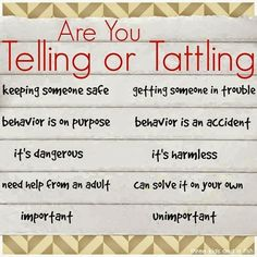 A great resource for teaching kids the difference between telling or tattling. Love it!