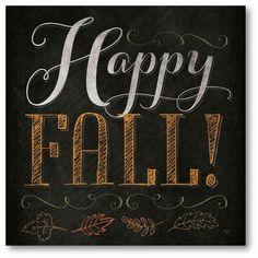 The Holiday Aisle 'Happy Fall' Textual Art on Canvas Fall Chalkboard Art, Halloween Chalkboard Art, Thanksgiving Chalkboard, Blackboard Art, Chalkboard Markers, Kitchen Chalkboard, Chalkboard Drawings, Chalkboard Lettering, Chalkboard Designs