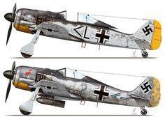 Focke-Wulf Fw 190 A-2; W.Nr. 0125228, 'Chevron L', flown by Ofw. Erwin Leibold of Stab I./JG 26, St. Omer-Arques, France, July 1942, Focke-Wulf Fw 190 A-2; W.Nr. 0125299, 'Blue 2', flown by Lt. Leopold Wenger of 10.(Jabo)/JG 2, Caen-Carpiquet, France, mid-August 1942,