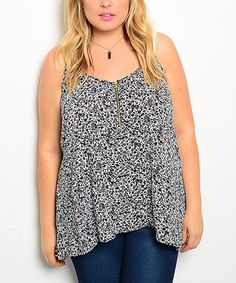 Look what I found on #zulily! Black & White Floral Hi-Low Top - Plus #zulilyfinds