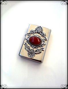Gothic zippo lighter unisex carnelian agate gothic smoking accessories genuine zippo. €79.00, via Etsy.